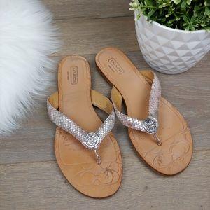 Coach Sara Metallic Silver & Pink Sandal Thong
